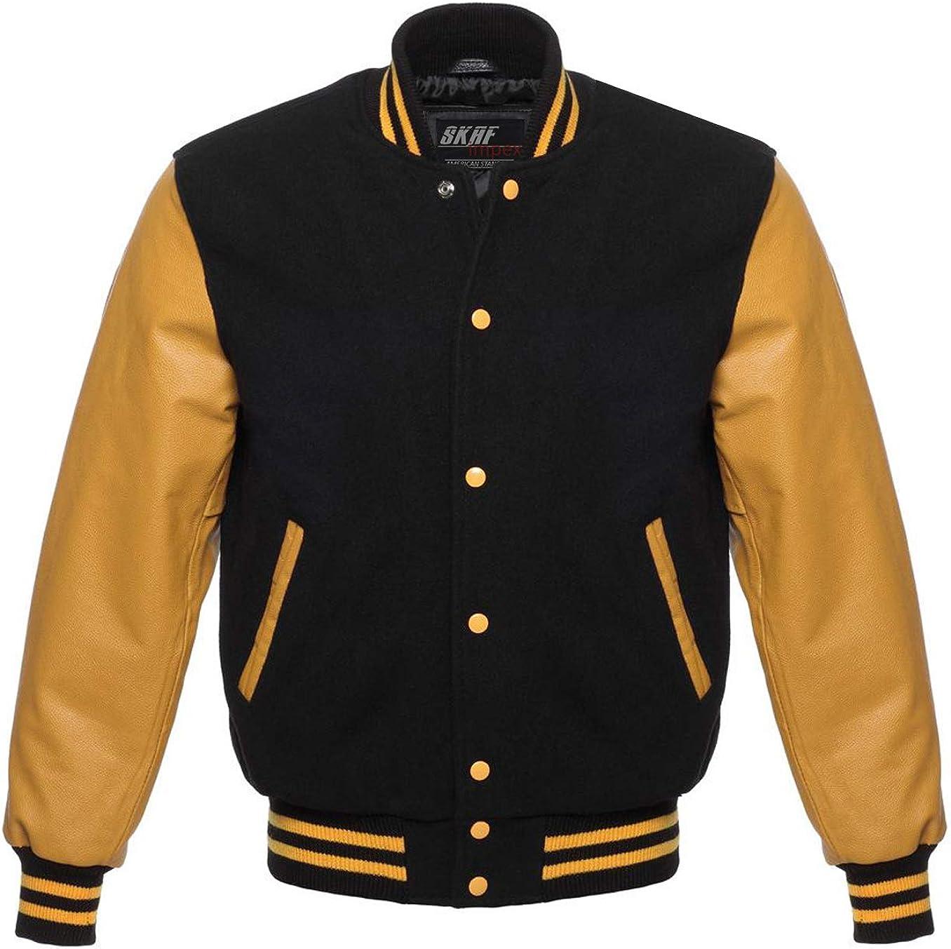 RED Pure Leather Sleeves BLACK Wool Varsity Letterman Bomber BASEBALL Jacket