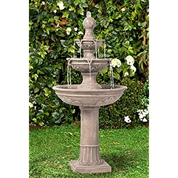 Outside Garden and Patio Water Feature with Rechargeable Solar Battery Sunnydaze Dual Pineapple 2-Tier Solar with Battery Backup Outdoor Water Fountain with LED Lights 34-Inch