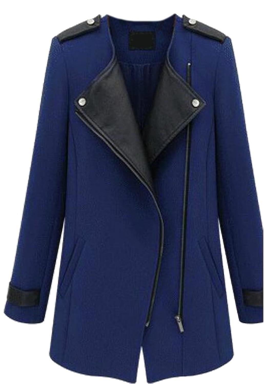 XTX Women Fashion Slim Fit Oblique Zipper Wool Trenchcoats