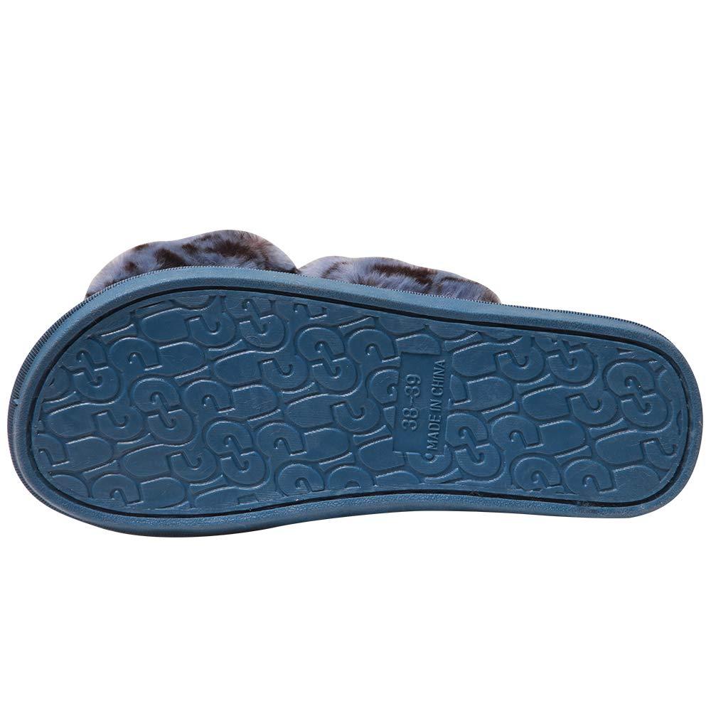 Hello Shero Women Comfy Fuzzy Plush Faux Fur Leopard Prints Slide Sandals Crisscross Open Toe Flip-Flop Mules Durable Anti-Slip Slippers Shoes