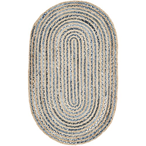 Safavieh Cape Cod Collection CAP250A Hand Woven Natural and Blue Jute Oval Area Rug (3' x 5') Oval Kitchen Rugs