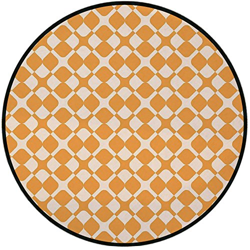 Shower Chair Line Select (Printing Round Rug,Kids,Abstract Diagonal Checked Tile Pattern with Different Shabby Colored Cross Lines Mat Non-Slip Soft Entrance Mat Door Floor Rug Area Rug For Chair Living Room,Marigold Cream)