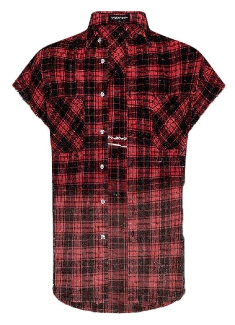 Mens Plaid Casual Short Sleeve Button Down Classic Shirt