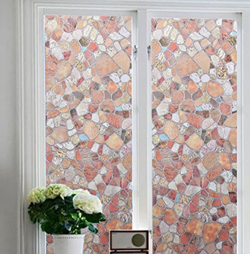 Stained Molding (Soqool Cobblestone Decorative Film Stained Glass Window Film No Glue Self Static Window Film Remove/Reusable Privacy Viynl Film for Home/Bathroom/Sliding Glass Door Decor, 17.7' by 78.7