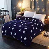 0edb060c822aae Lanqinglv Warm Winter Stern Bettwäsche Blau 220x240 Biber Microfaser Thermo  Fleece Bettbezug Perfekt für Damen Mädchen