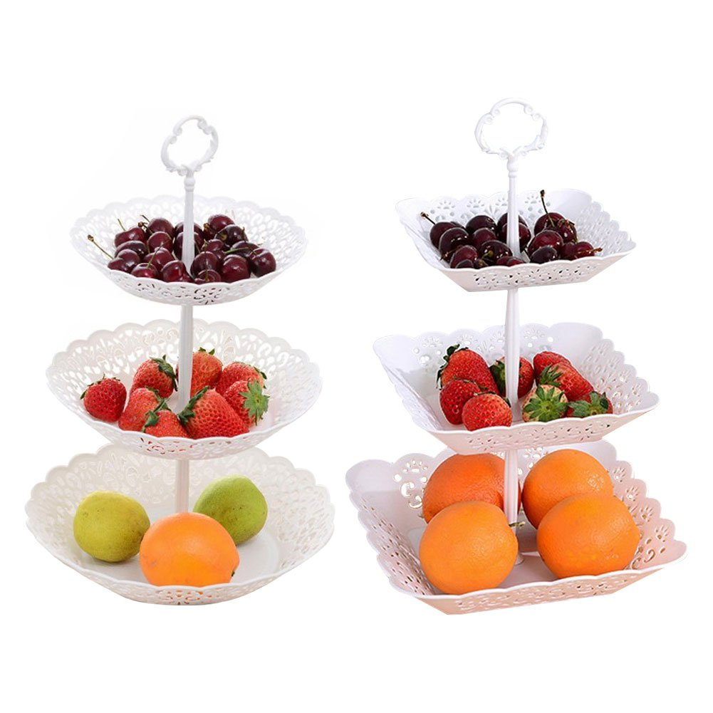 2 Set of 3-Tier White Plastic Fruit Plate Stand for Cakes Desserts Fruits Candy Buffet Stand for Wedding Home Birthday Party Serving Platter