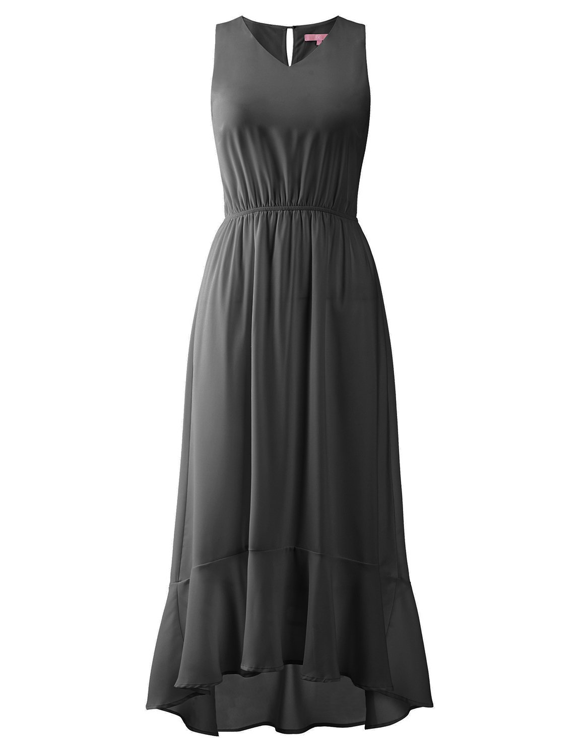 Regna X Boho for Woman Sexy fit and Flare Cocktail Black Extra Large Flared Ruffle Hemline Maxi Chiffon Dresses