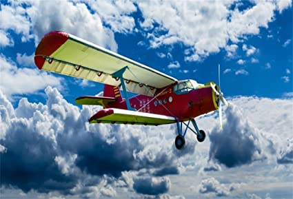Aofoto 6x4ft Biplane Dogfight Background Old Plane Photography Backdrop Vintage Double Decker Fighter Fly In Blue Sky Cloud Photo Studio Props Pilot