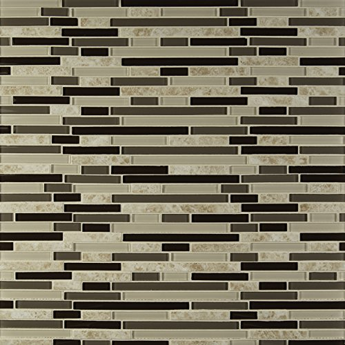 M S International Amalfi Cafe Interlocking 12 in. x 12 in. x 6 mm Glass and Porcelain Mesh-Mounted Mosaic Tile (15 sq. ft. / case) ()