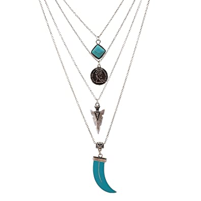 921b57b0431d Lureme® vendimia cadena de múltiples capas de color turquesa cuadrada collar  de monedas de piedra flecha colgante (01003374-2) plata antigua  Amazon.es   ...