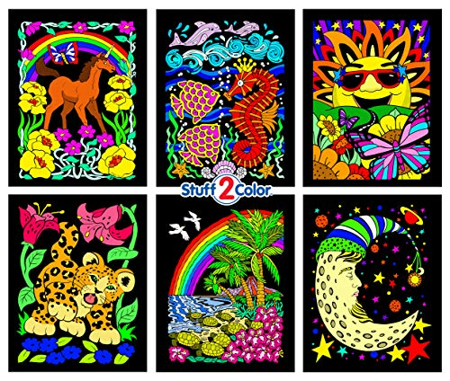 Stuff2Color Unicorn, Leopard Cub, Turtles, Moon, Seahorse, & Sun - 6 Fuzzy Velvet Posters]()