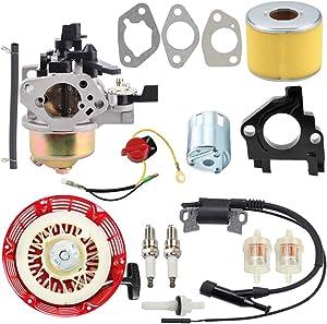 Kuupo GX390 Carburetor + Recoil Starter + Ignition Coil + Air Fuel Filter Line Kit for Honda GX340 GX390 GX 340 GX 390 11HP 13HP Engine 188F Generator Pressure Washer WT40 Water Pump Motor Lawn Mower