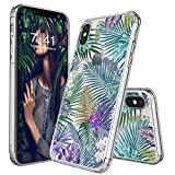 iPhone X Case, Clear iPhone X Case, MOSNOVO Tropical Palm Tree Leaves Clear Design Printed Transparent Plastic Hard Back Phone Case with Soft TPU Bumper Protective Cover for Apple iPhone X