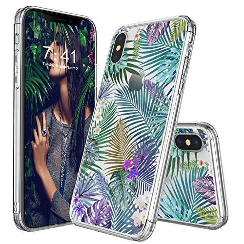 iPhone X Case, Clear iPhone X Case, MOSNOVO Tropical Palm Tree Leaves Clear Design Printed Transparent Plastic Hard Back Phone Case with Soft TPU Bumper Protective Cover for Apple iPhone - Transparent Tree Palm