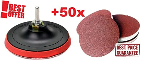 sanding disc for drill. velcro backing pad for 125 mm 5\u0026quot; angle grinders +50 sanding discs + drill sanding disc drill ,