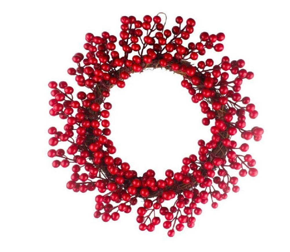 EBTOYS Christmas Wreath, 16-Inch Simulation Berry Decorative Wreath Red Fruit Garland for Christmas Hotel Mall Hanging Decoration