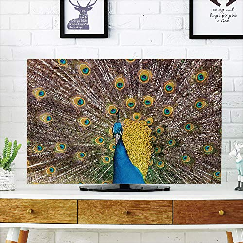 LCD TV Cover Lovely,Peacock Decor,Peacock Displaying Feathers Golden Vibrant Colors Eye Shaped Patterns Picture,Diversified Design Compatible 50
