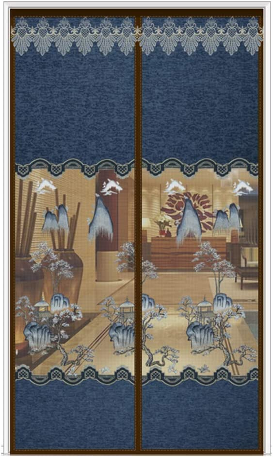 Door Curtain Puerta magnética con mosquitera, Cortina de Puerta privada Semi-blindada, Velcro de fácil instalación sin punzonado, Bordado Exquisito de Alta Gama y Elegante
