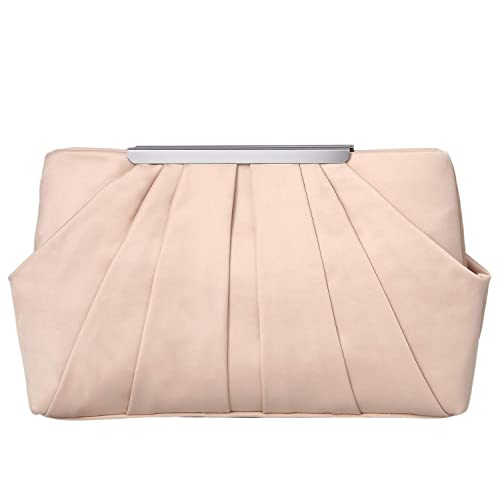 49cde48909 expouch Womens Pleated Satin Evening Handbag Clutch with Detachable Chain  Strap Wedding Cocktail Party Bag (
