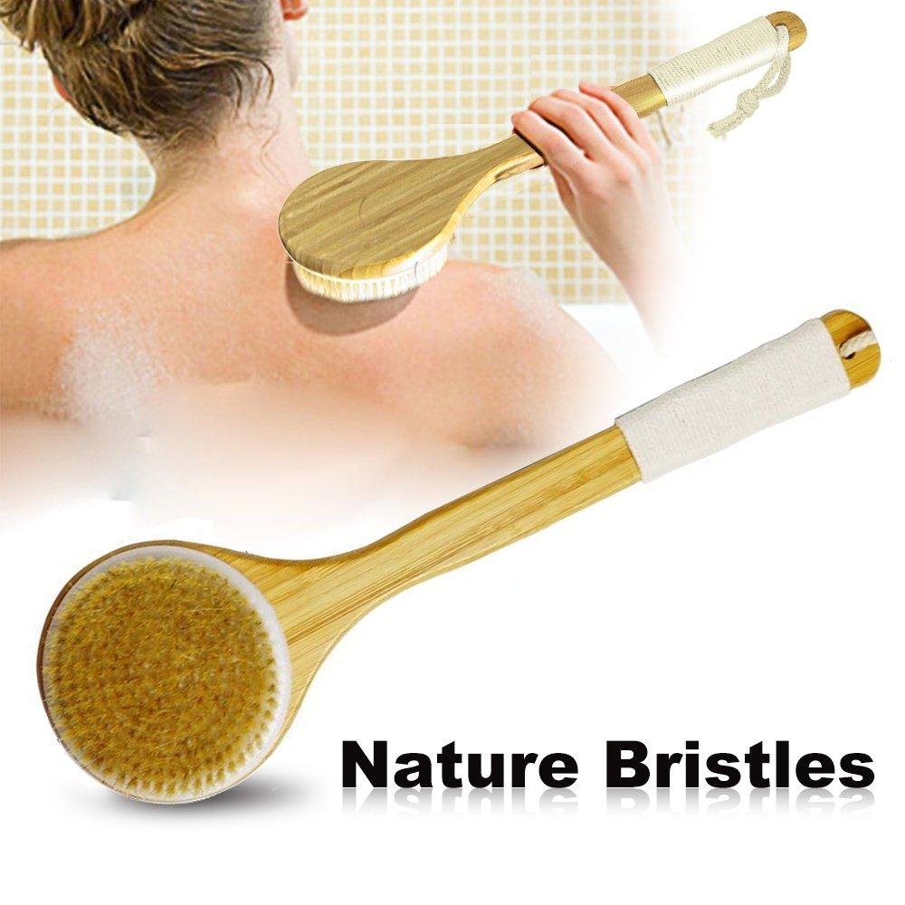 Badebürsten,Justime Rückenbürste mit langem Griff,Bath Körperbürste Back Scrubber mit Natürliche Borsten Duschbürste für Männer und Frauen