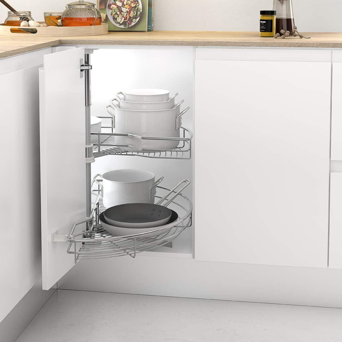 Casaenorden - Kit de 2 bandejas giratorias 180º de Rejilla para Mueble de Cocina rinconero - Mueble esquinero de Cocina - Ancho Puerta 500mm / Alto Producto 630-730mm
