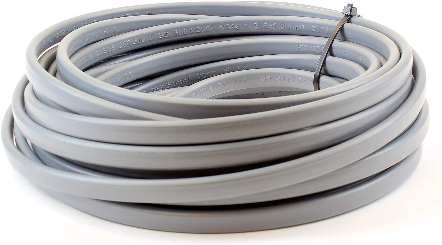 5M 2.5 mm Twin and Earth 6242Y Flat Grey Electric Cable