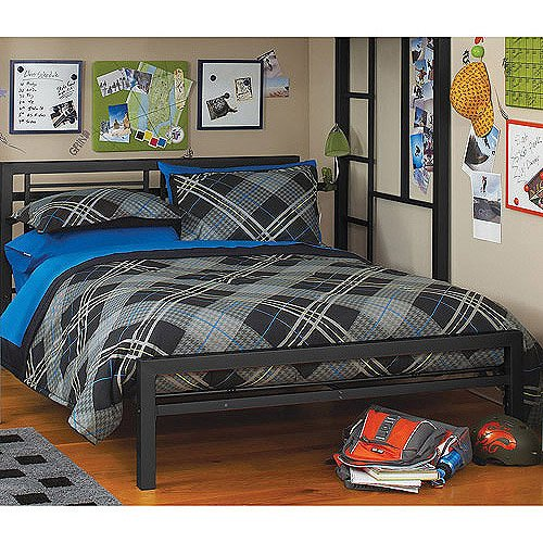 Black Metal Full Size Platform Bed Black Furniture Headboard Footboard and Rails Frame (Headboard Footboard Platform Rails)