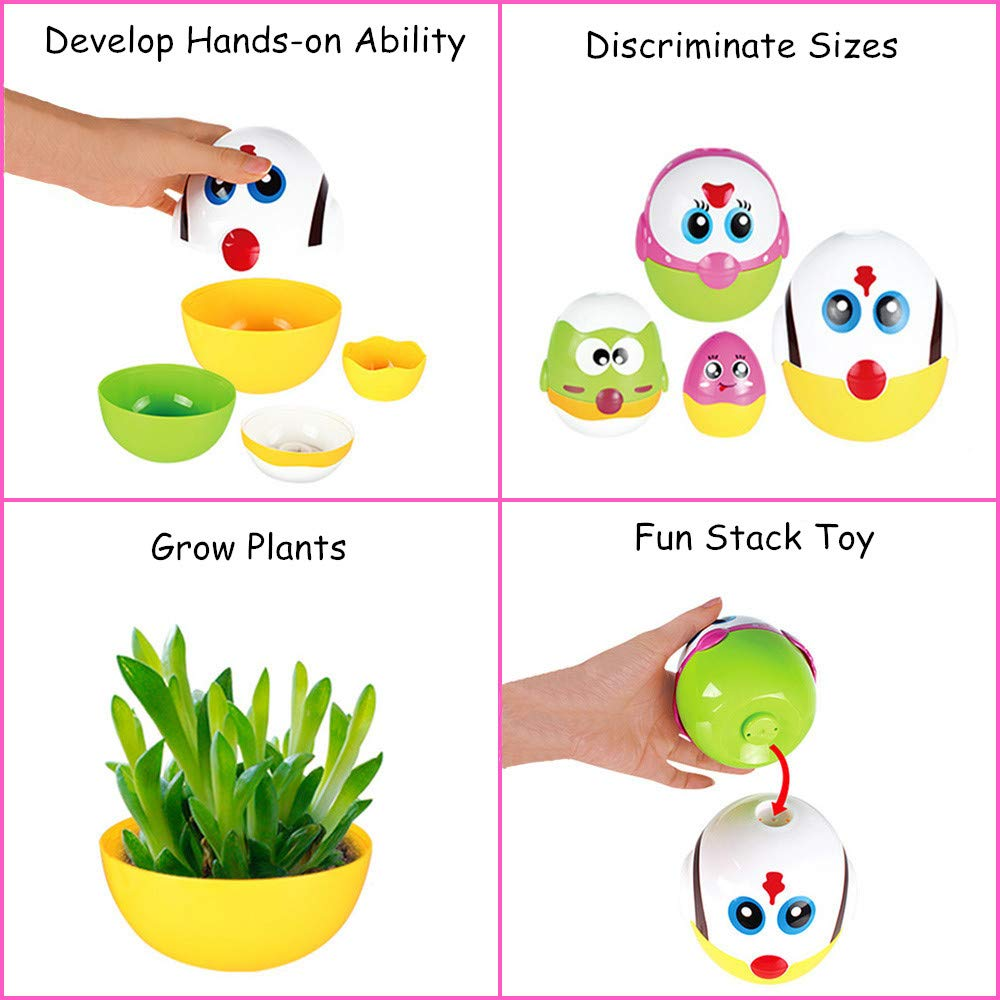 LUKAT Plastic Easter Eggs, Baby Toddler Easter Gifts, Stacking Toys and Nesting Playset Toy for Kids Boys Girls by LUKAT (Image #3)