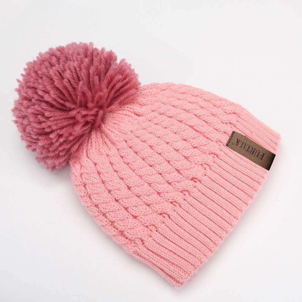 Winter Beanie Hats for Women FURTALK Womens Warm Knit Fur Bobble Pom Pom Hat  double hat larger image 6e96e0ceff1f