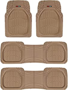 Motor Trend MT-923-920 Beige FlexTough Contour Liners-Deep Dish Heavy Duty Rubber Floor Mats for 3 Row Car SUV Truck & Van-All Weather Protection