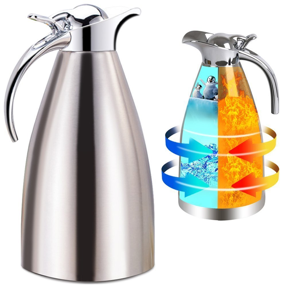 Panesor Thermal Coffee Carafe Insulated 68 Oz/2L, Vacuum Stainless Steel Tea Carafe Hot Coffee Pitcher Double Walled CECOMINOD082576