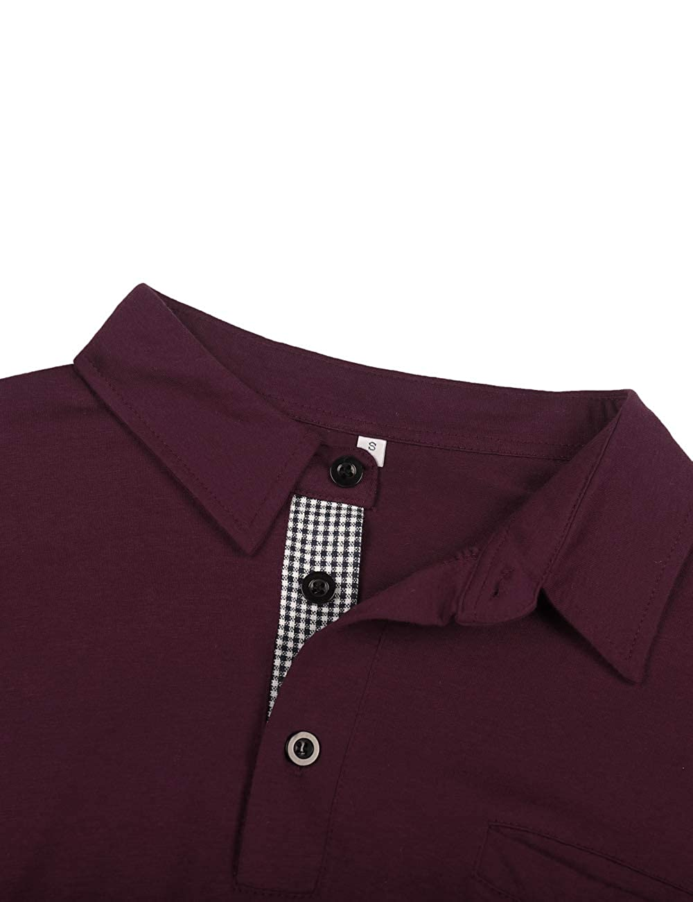 poriff Mens Long Sleeve Polo Shirts Solid 3 Botton Cotton T Shirts with Pocket