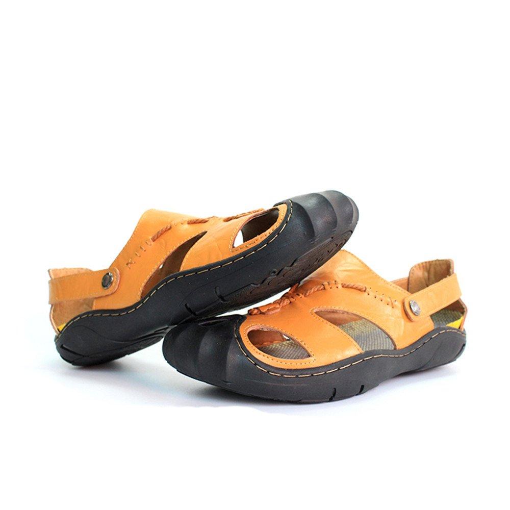 Herren Sandalen aus echtem Leder Strand Hausschuhe Casual rutschfeste weiche Schuhe flache geschlossene Zehe Sandalen Schuhe weiche keine Kleber (Farbe : Orange, Größe : 7MUS) Orange c2eee1