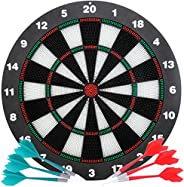 Safety Dart Board Set for Kids and Adults, 16 Inch Soft Rubber Dart Game with Standing Bracket and 6 Soft Tip