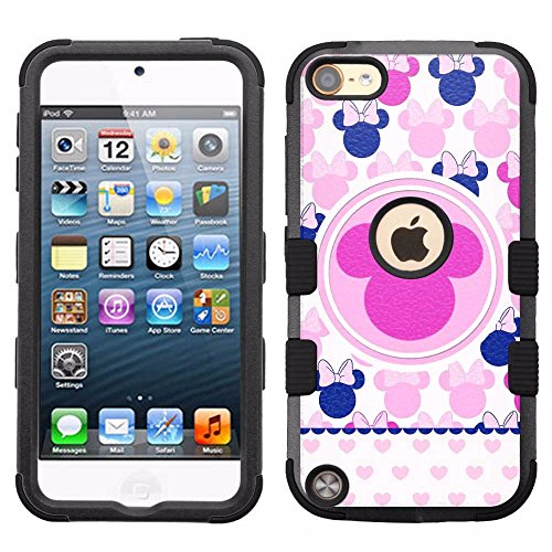 for iPod Touch 5/6, Hard+Rubber Dual Layer Hybrid Heavy-Duty Rugged Armor Cover Case - Minnie Mouse - Mouse For Minnie 5 Case Ipod