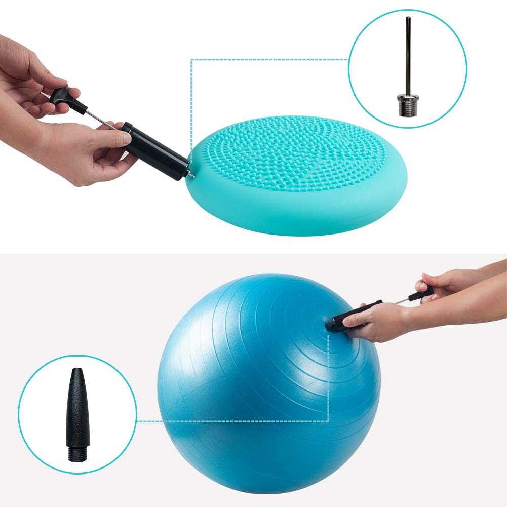 Volleyball Rugby Football Soccer Inflator Kit with Needle Portable Hand Air Pump Basketball Water Polo Yoga Ball Bouncy Hopper Swim Inflatables Balloon Nozzle for Exercise Ball