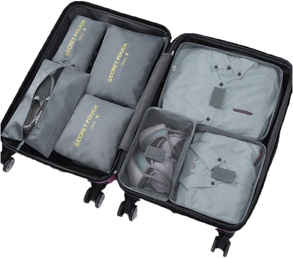 7 Set de Organizador de Equipaje, Impermeable Organizador de Maleta Bolsa para Ropa Sucia de Viaje, Material Nylon(2Grey)