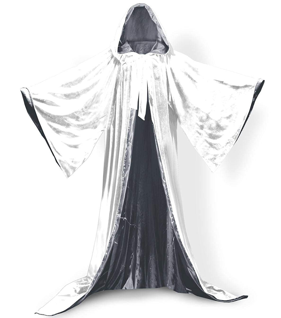 Whitesilver S ShineGown White Medieval Wizard Robe with Hoods Halloween Cloak Long Sleeves Velvet Unisex Masquerade for Christmas Party Costume Ball Gothic Full Length Cape Cosplay Fancy Coat Many colors