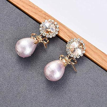 KHOBGLU Joyas De Plata Pendientes De Piedras Preciosas para Mujeres Gotas De Perlas En Forma De Gota De Agua Joyas De Fiesta Femeninas De Moda