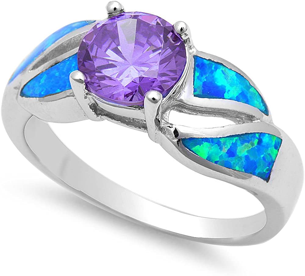 OPALTOP Opal Birthstone Ring//Created Sapphire Ring//Created Amethyst Ring for Women Men Wedding Engagement Band