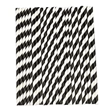 Drinking Straws - SODIAL(R) 25Pcs Striped Paper Drinking Straws for Party Wedding Supplies (Black & White)
