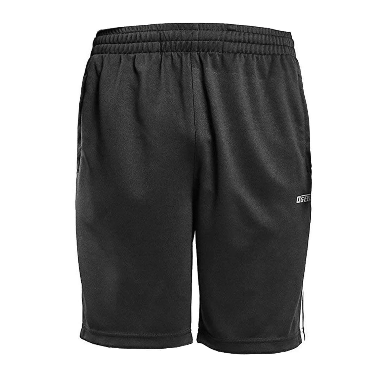 Ogeenier Deporte Pantalones cortos para Hombre con bolsillos de cremallera, Negro, Azul Marino