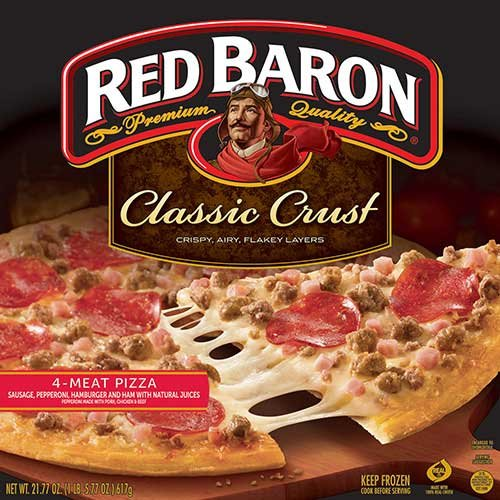 Red Baron Classic Crust 4 Meat Pizza, 21.77 Ounce -- 16 per case. (Meat Pizza)