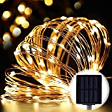 33ft Solar LED String Lights,Outdoor Waterproof Copper Wire Lights with 100 LEDs, For Garden Holiday Party Wedding Decoration - Warm White Light