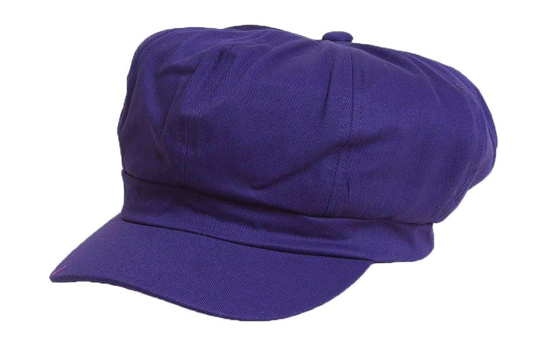 Cotton Elastic Newsboy Cap - Purple