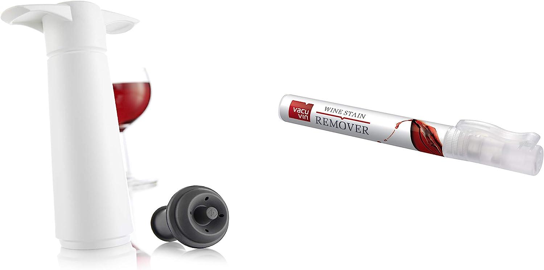 Vacu Vin Wine Saver Preserver and Stain Remover Pen Set – Product Bundle Kit Includes 1 Vacuum Pump, 1 Rubber Stopper, Plus 1 Portable Laundry Stick – White