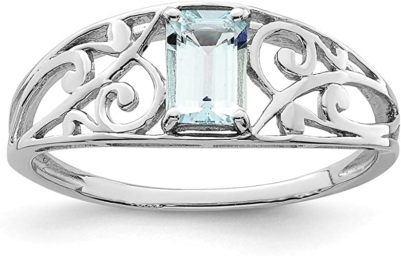 Blue Aquamarine Band Wedding Ring yellow Rhodium Plated Jewelry Size 8