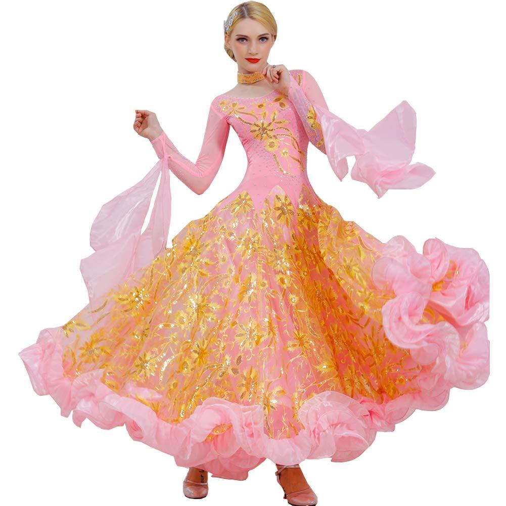 53ea45f90f16a 社交ダンス モダンドレス 長袖 ワンピースドレス キラキラスパンコール インターナショナルダンス 高級 スタンダードドレス タンゴ服