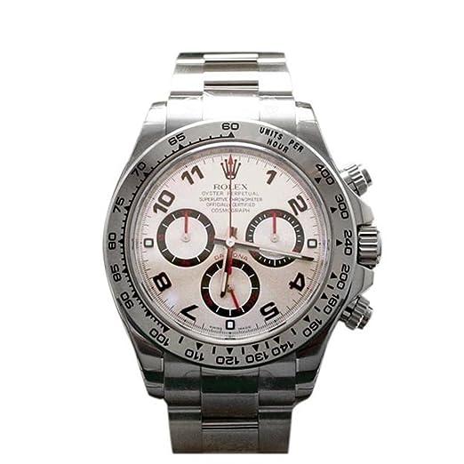 Rolex Cosmograph Daytona Oro Blanco Dial de plata reloj 116509: Amazon.es: Relojes
