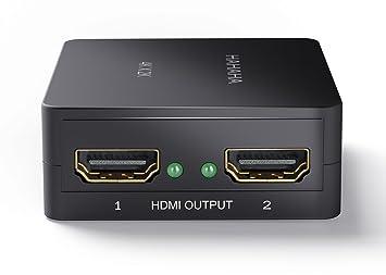 HDMI Splitter 1.4, 1 entrada y 2 salidas, Listo 3D, Full HD 1080p, 2160p UHD 4k -Dolby True HD, Negro, Que contiene el cable USB, Para Blu-ray,PS3, ...